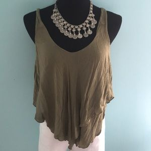 FREE PEOPLE Army Green Multi-Use Tank